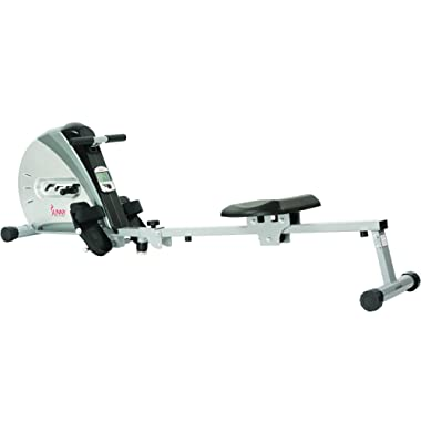 Sunny Health & Fitness Rowing Machine Rower Ergometer with Durable Elastic Cord, Digital Monitor, Inclined Slide Rail and Foldable -  SF-RW5606