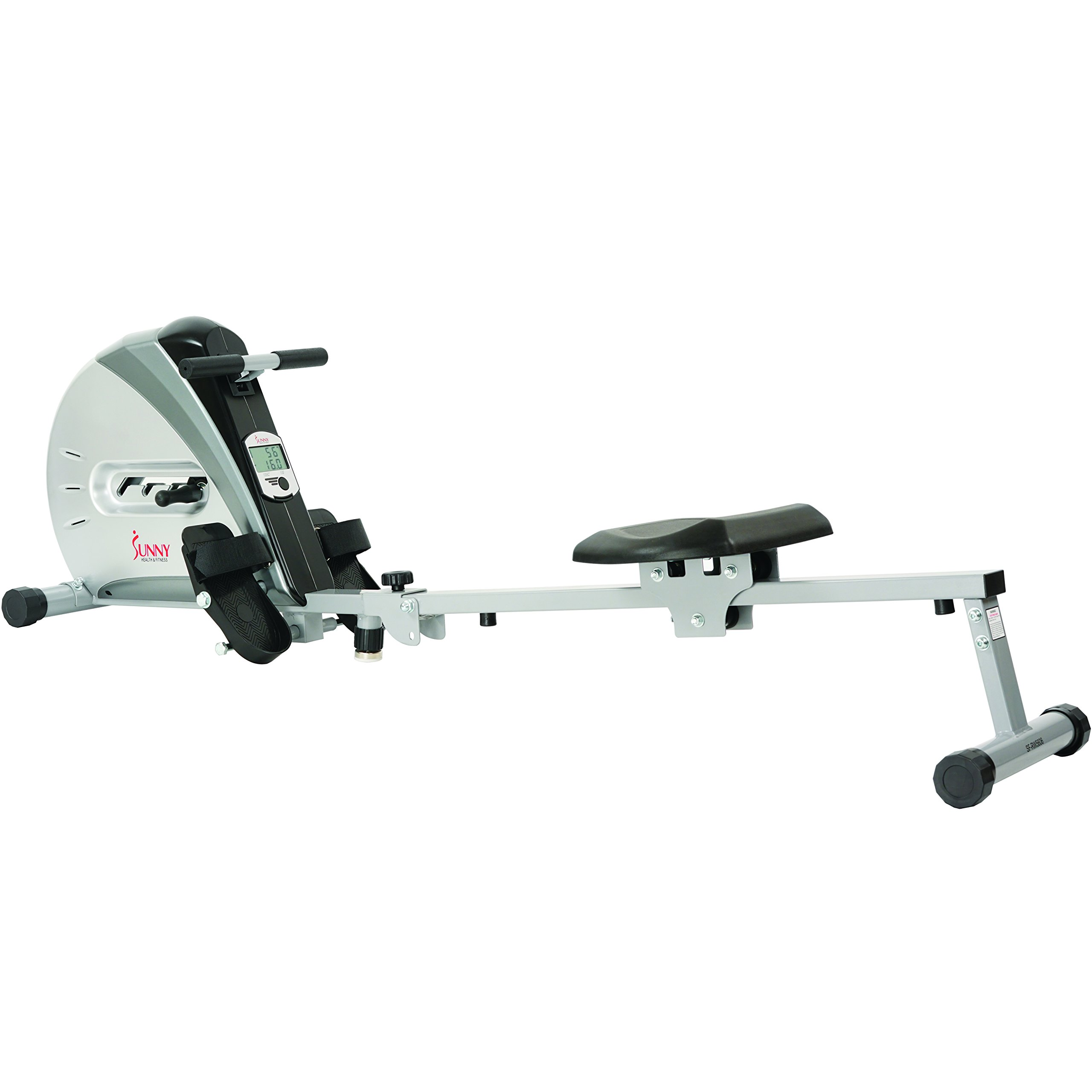 Sunny Health & Fitness Rowing Machine Rower Ergometer with Durable Elastic Cord, Digital Monitor, Inclined Slide Rail and Foldable -  SF-RW5606 by Sunny Health & Fitness (Image #1)
