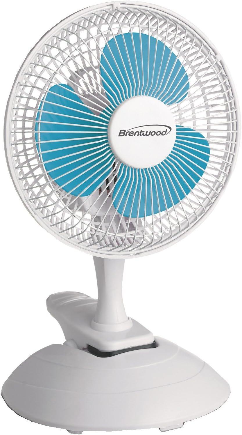 Brentwood Kool Zone Clip On Desk Fan, 2-Speed 6-inch, White