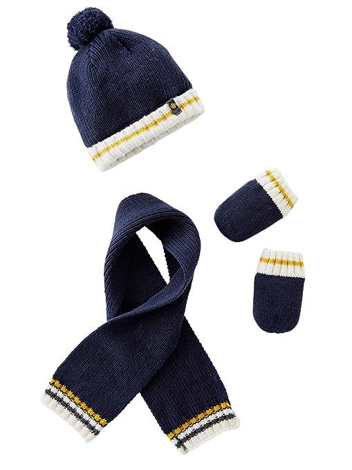 VERTBAUDET Ensemble bonnet + écharpe + moufles tricot doublé bébé garçon  Marine foncé 3 6M 5d458330157
