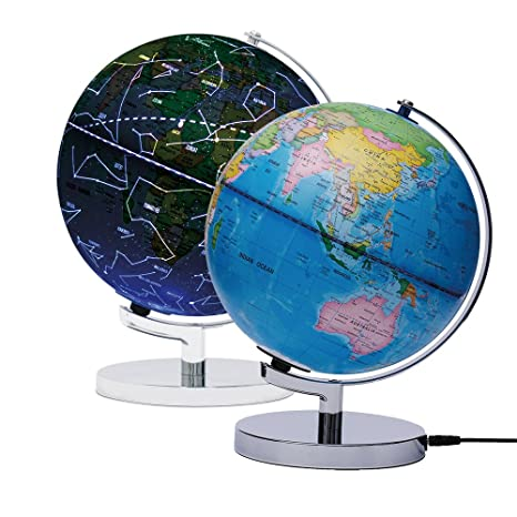 AyFUN Celestial Interactive Globe , Day View World Globe and Night View  Illuminated Constellation Map