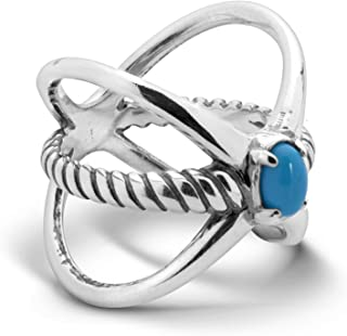 product image for Carolyn Pollack Sterling Silver & Turquoise Rope Ring - Size 5