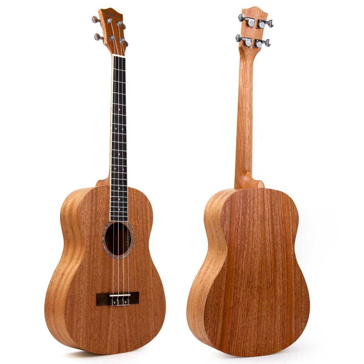 bass baritone ukulele mahogany ukelele uke hawaii guitar 30 inch 4string rosette ebay. Black Bedroom Furniture Sets. Home Design Ideas