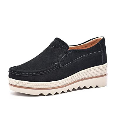 91ffe8717d3 LILY999 Women Platform Slip On Loafers Comfort Suede Moccasins Wide Low Top  Wedge Shoes Heel 5cm