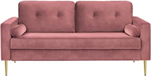 VASAGLE Sofa, Couch for Living Room, Velvet Surface, for Apartment, Small Space, Solid Wood Frame, Metal Legs, Easy Assembly, Mid-Century Modern Design, 71.3 x 32.3 x 33.9 Inches, Pink ULCS002P01