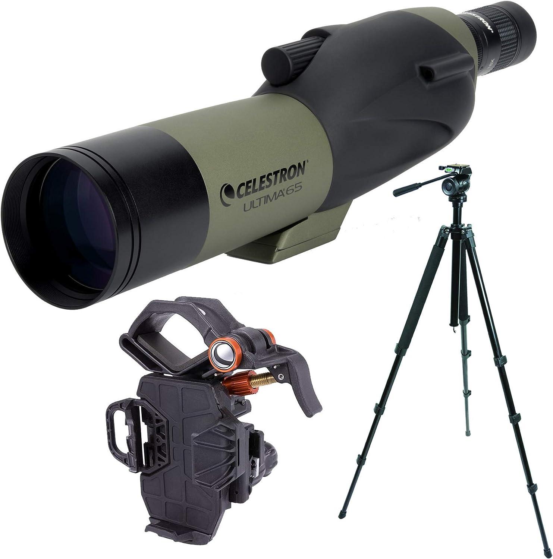 Celestron Ultima 65mm Spotting Scope w//18-55x Eyepiece w//Trailseeker Tripod /& NeXYZ Universal Phone Adapter Kit Straight Viewing