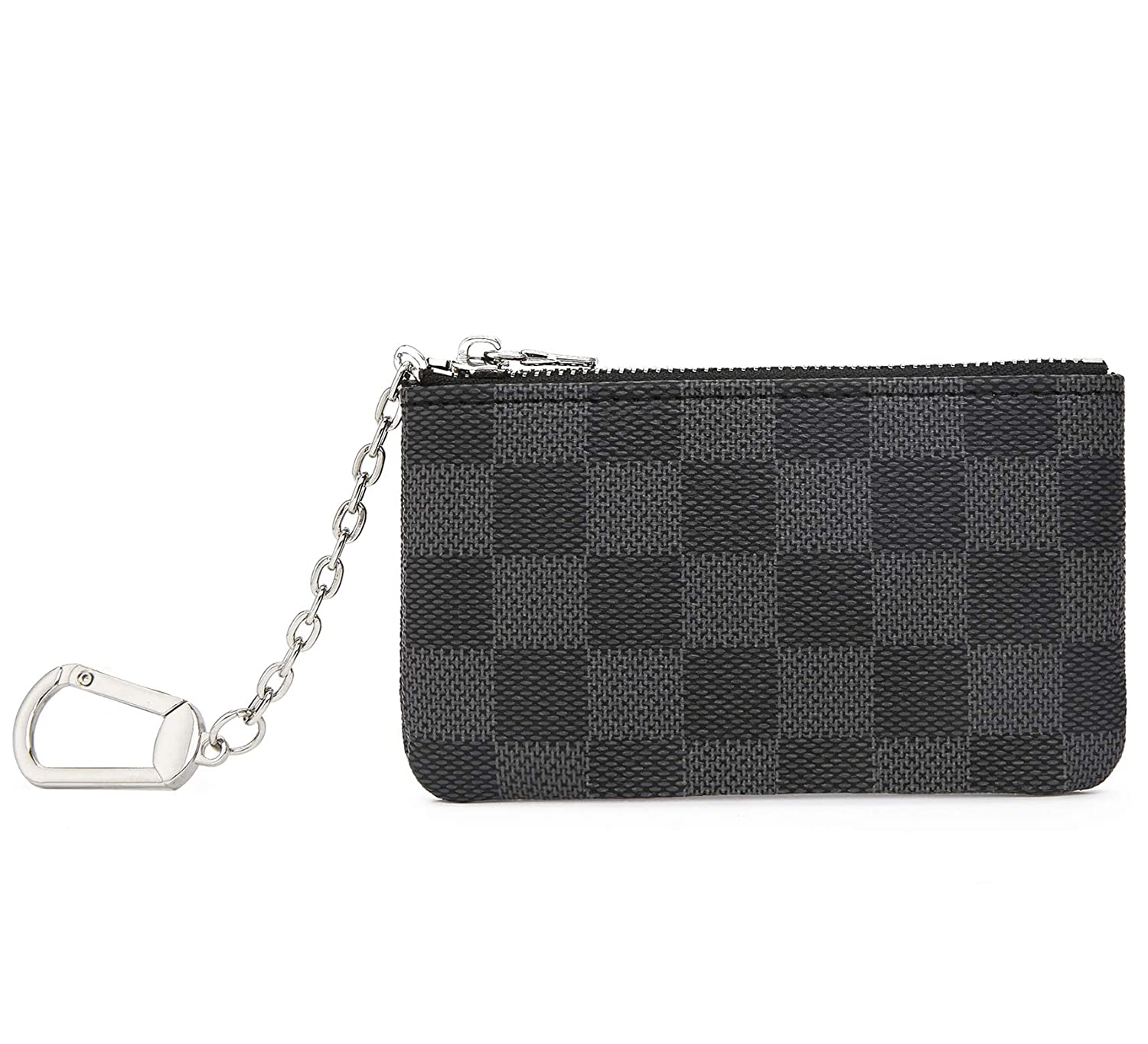 Miracle Checkered Zip Key Chain Pouch | Mini Coin Purse Wallet Card Holder with Clasp | PU Vegan Leather for Men Women