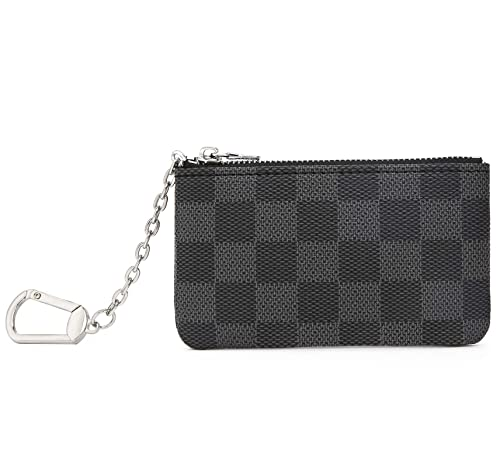 59b96fc9a20c Miracle Checkered Zip Key Chain Pouch   Mini Coin Purse Wallet Card Holder  with Clasp   PU Vegan Leather for Men Women