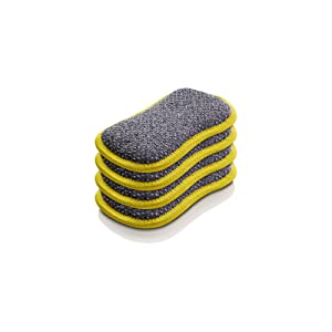 E-Cloth Washing Up Pad - Non-Scratch Kitchen Scrubber/Wiper - Brilliant for Removing Stuck-On Food from Pots & Pans - Yellow - 4 pack