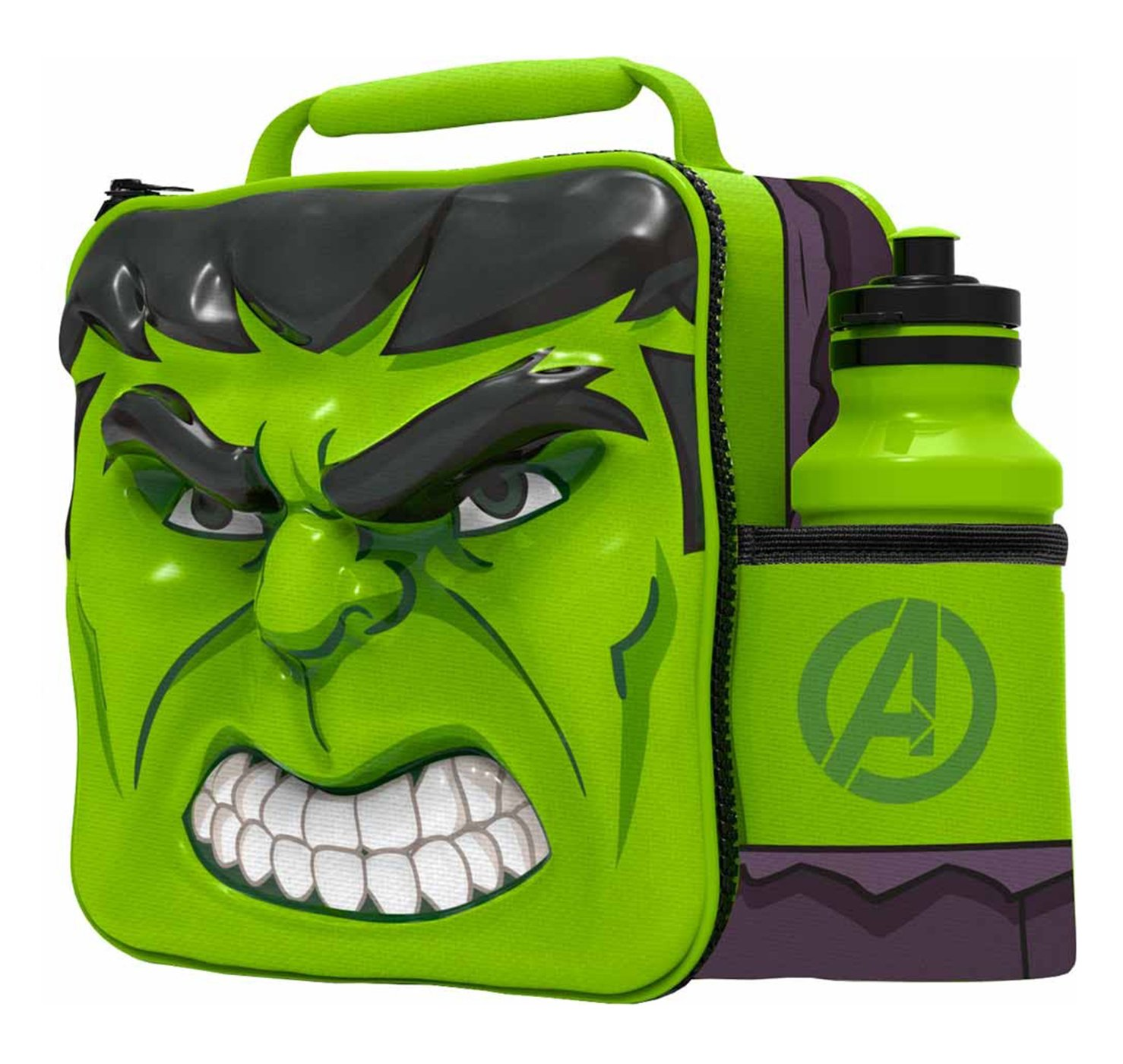 Boyztoys Marvel - borsa termica per il pranzo con borraccia sportiva a tema Hulk, 3D