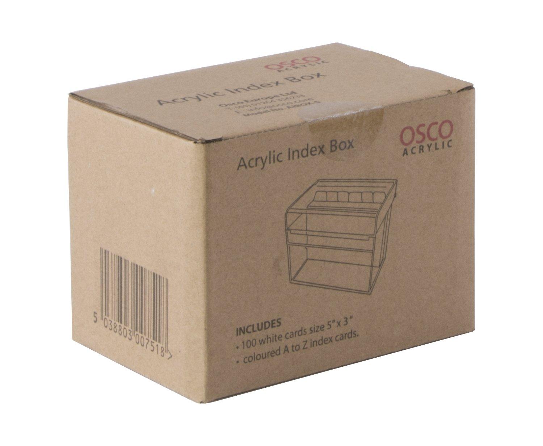 Osco - Caja de Índices adhesivos, transparente - kit con 25 indices A hasta Z y 100 hojas rayadas: Amazon.es: Oficina y papelería