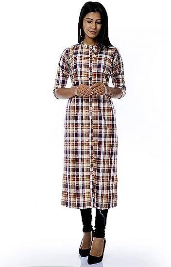 Indian Women/'s Top Tunic Frock Kurtis Designer Cotton Side Button Long Dress