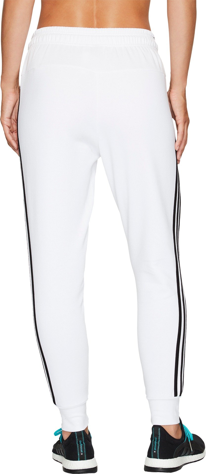 adidas Women's Athletics Essential Cotton Fleece 3-Stripe Jogger Pants, White/Black, Small by adidas