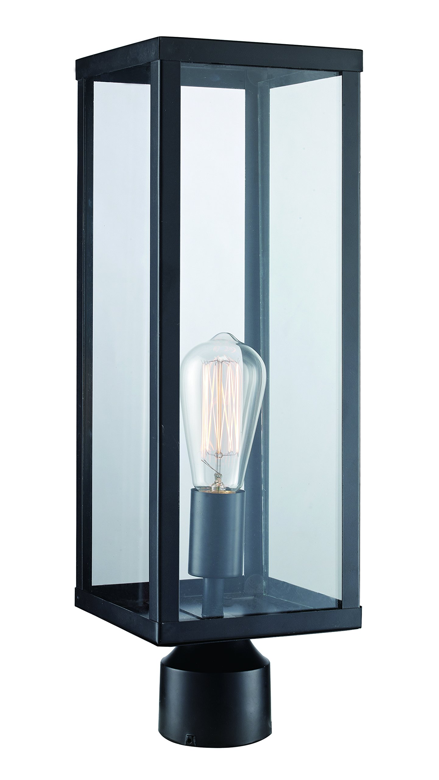 Trans Globe Lighting 40754 BK Oxford Industrial Postmount Lantern, 19.25'', Outdoor Black