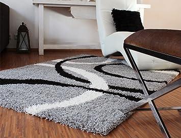 Teppich hochflor shaggy linien muster grau schwarz weiss grösse