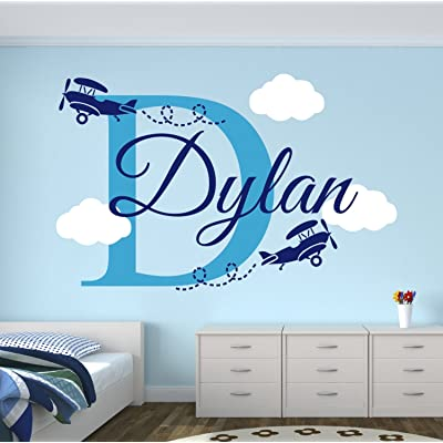 Personalized Name Airplanes Wall Decal - Boy Name Wall Decal Kids Room Decor - Clouds Wall Decal Nursery Decor (40Wx20H): Baby