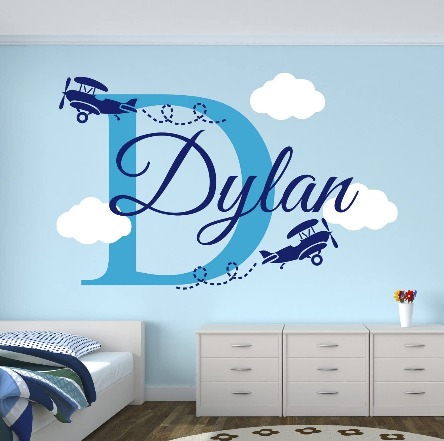 Personalized Name Airplanes Wall Decal - Boy Name Wall Decal Kids Room Decor - Clouds Wall Decal Nursery Decor (40Wx20H)