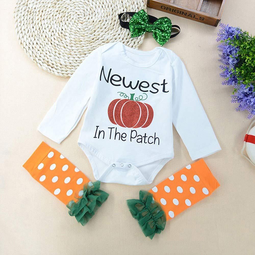 Leg Sets XUANOU Halloween Baby Long Sleeve Pumpkin Letter Print Robes Hair Band 3PCS Romper Jumpsuit Leggings Headbands