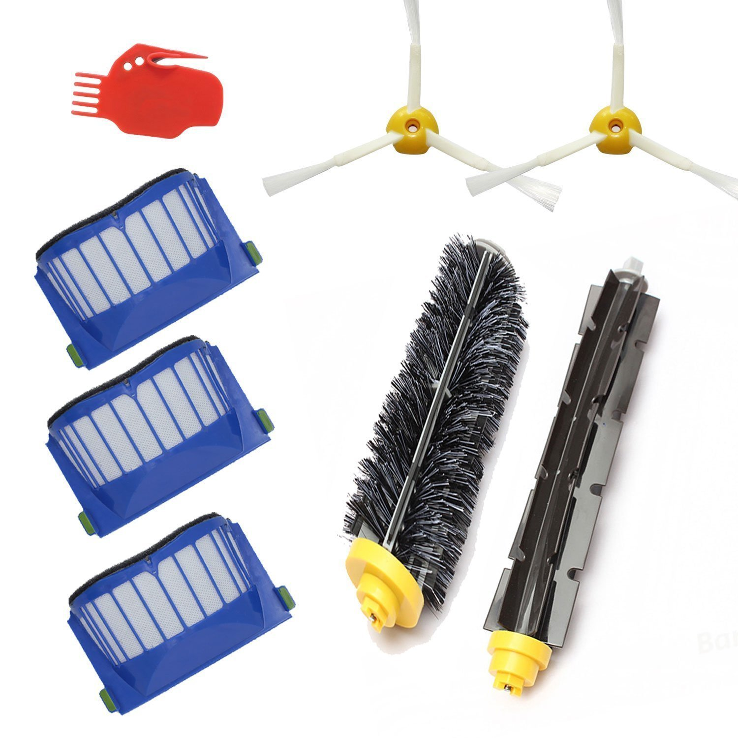 LOVE(TM)kit for Robot 600 Series Replenishment for 585 595 600 620 650--Includes 3 Pcs Filter, 2pcs Side Brush, and 1 Pc Bristle Brush and Flexible Beater Brush, Cleaning Tool