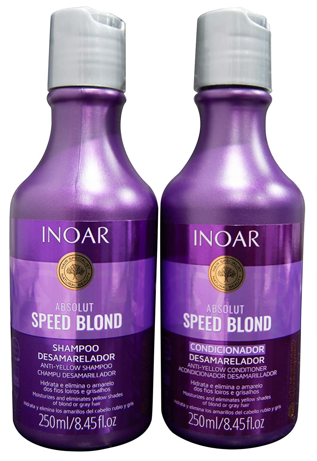 INOAR PROFESSIONAL - Speed Blond Shampoo & Conditioner - Anti-Yellowing Nourishing Treatment For Bleached, Blond, Brassy & Gray Hair Types (8.5 Ounce / 250 Milliliter)