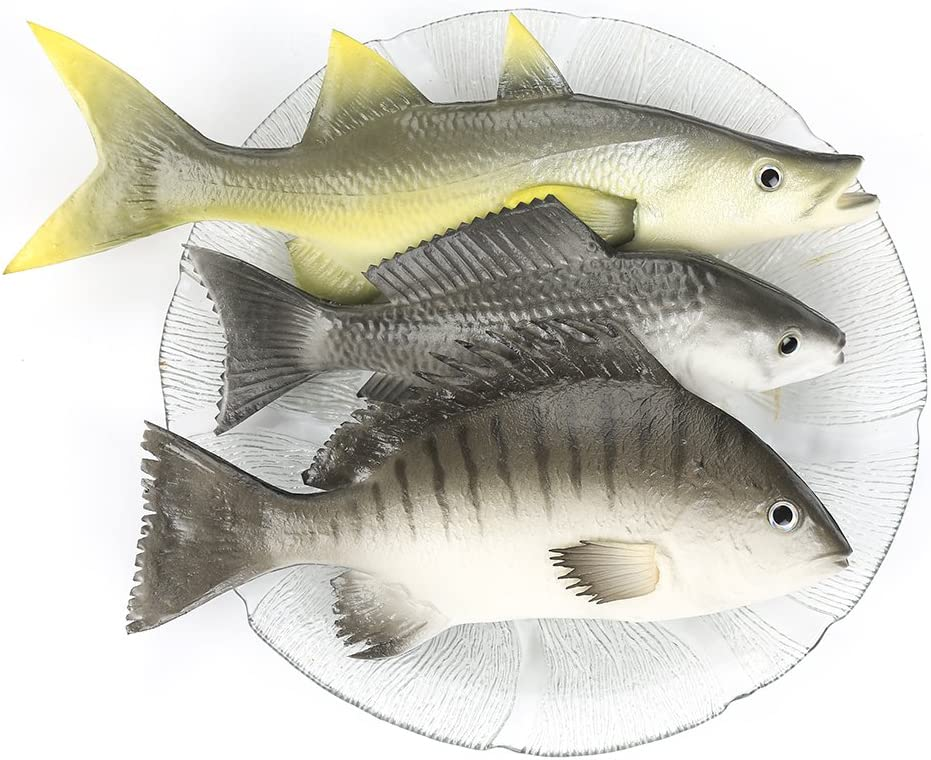 KISSTAKER Fake Fishes Realistic Fish Playset Model Lifelike Food Prop