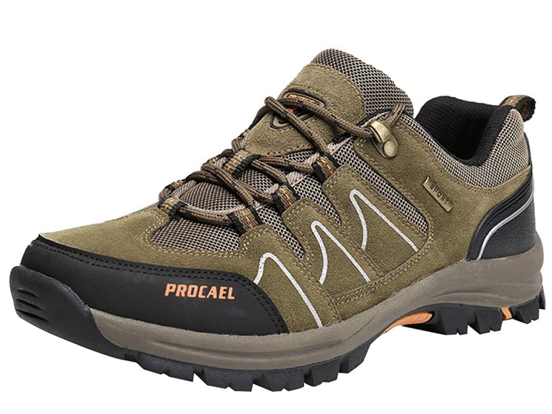 HhGold Männer Wanderschuhe Stiefel Leder Wanderschuhe Turnschuhe Für Outdoor Trekking Training Beiläufige Arbeit (Farbe : 4, Größe : 43EU)