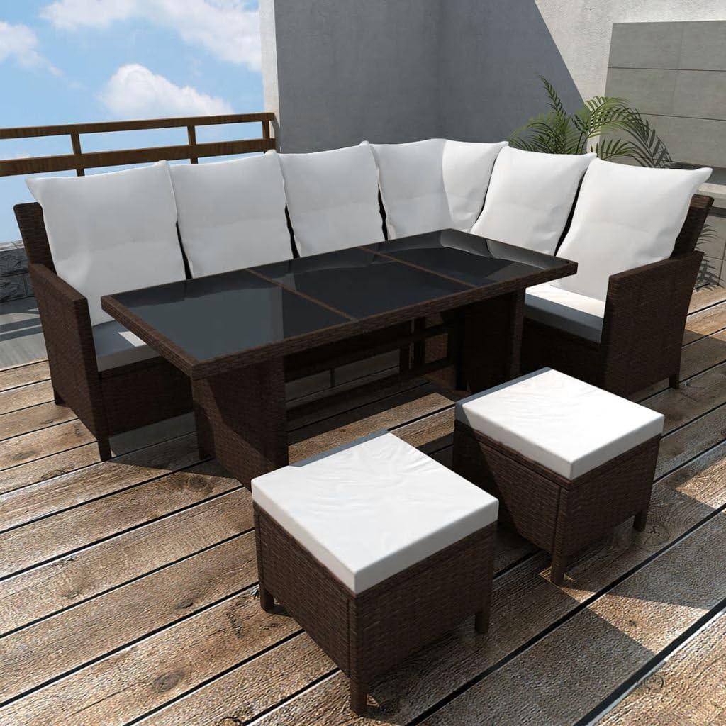 Namotu vidaXL 4-TLG. Garten-Lounge-Set mit Auflagen Poly Rattan Braun