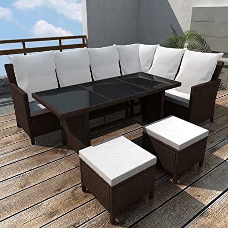 Tidyard Conjunto Muebles de Jardín de Ratán 14 Piezas para 8 Personas con Mesa y Cojines Extraíbles,Sofas Exterior para Jardín Terraza Patio en Ratán PE Marrón: Amazon.es: Hogar