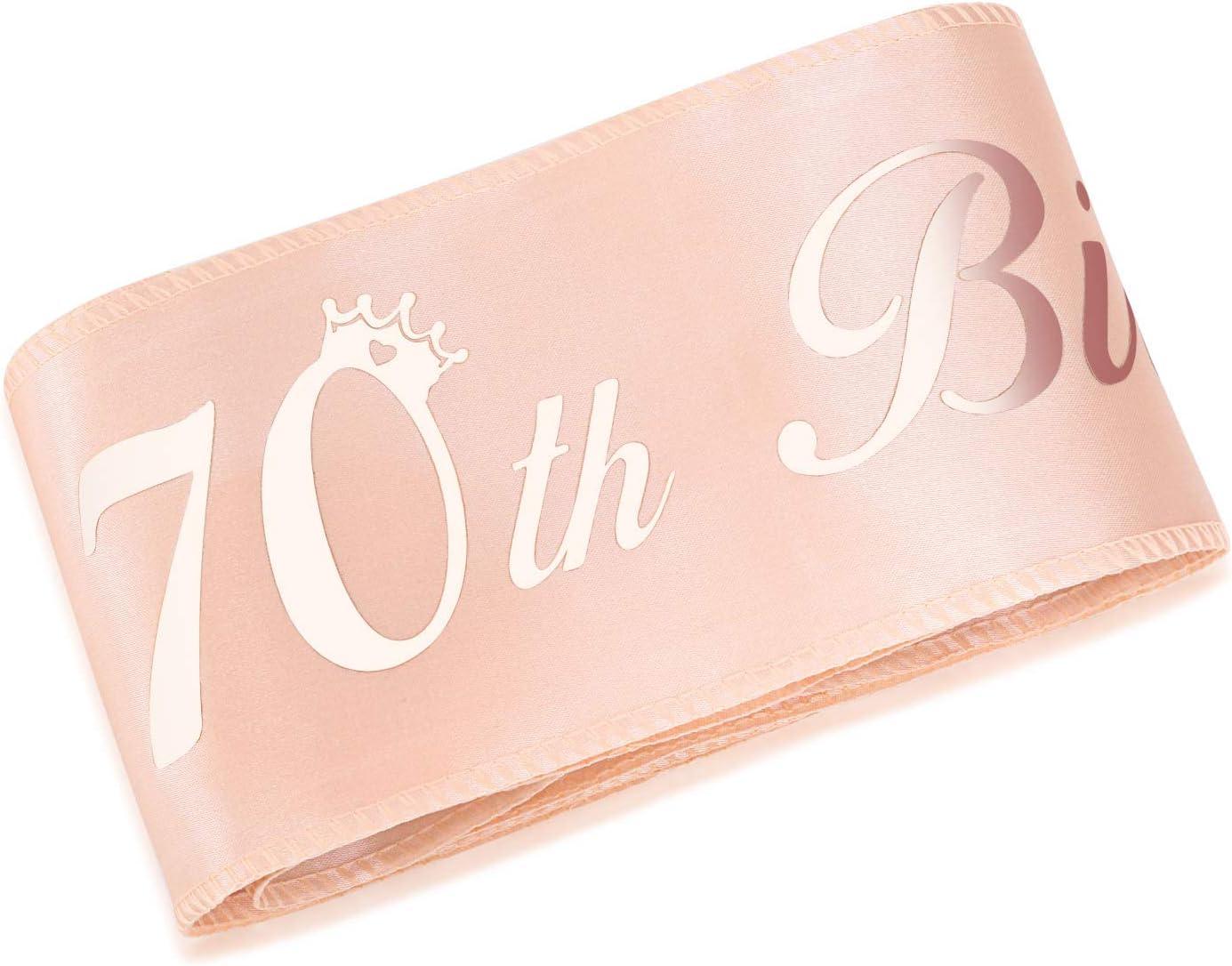 HOWAF Or Rose 70 Anniversaire /Écharpe Its My 70th Birthday Satin Sash pour 70 Ans Anniversaire Cadeau F/ête Faveur Anniversaire d/écoration Accessoires pour Femme