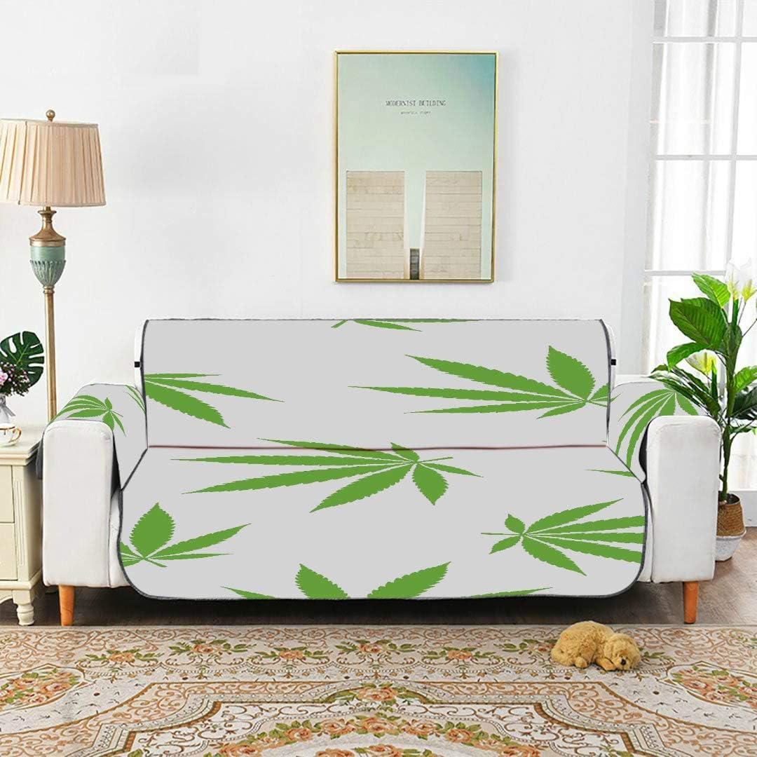 WDDHOME Marihuana Cannabis Weed Leaf Patrón sin Costuras Funda de sofá Funda de sofá Fundas de sofá Juego de Cojines de sofá 168 cm (66