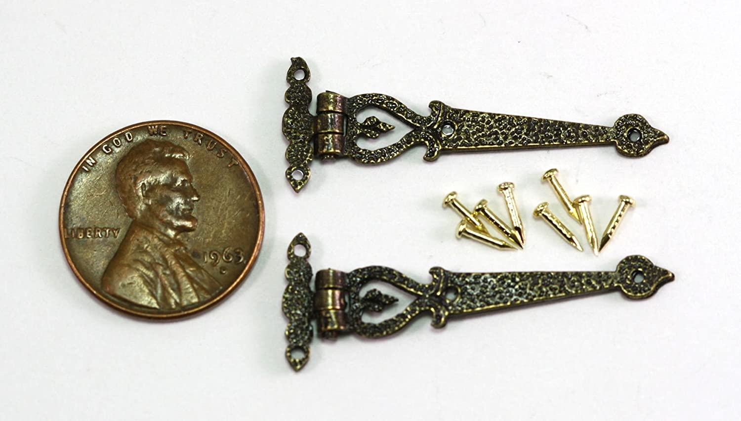Dollhouse Miniature Brass Square Hinges