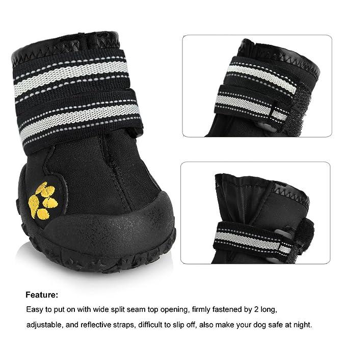 0ad2d6aa8a41f Magic Zone Wasserdichte Hundeschuhe Rutschfeste Hundeschnee Stiefel für  verschiedene Größen 4pcs