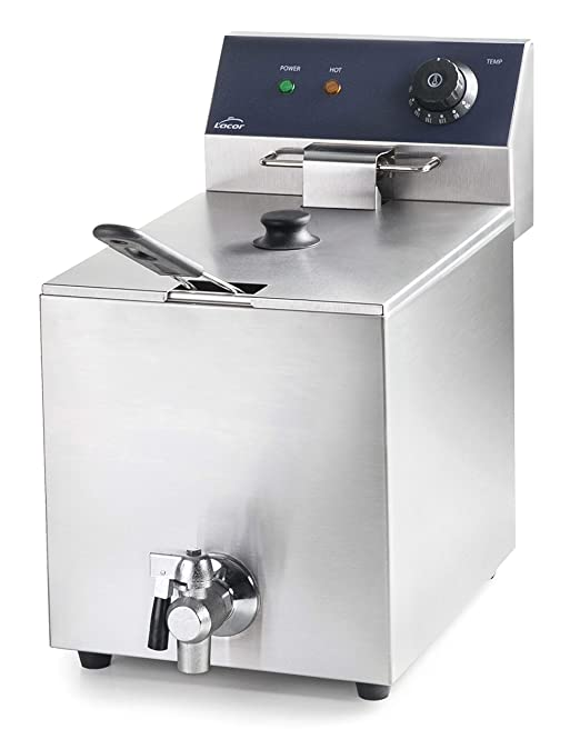 Lacor 69468 69468-Freidora eléctrica con Grifo Profesional 3250 W, 8 L, Acero Inoxidable