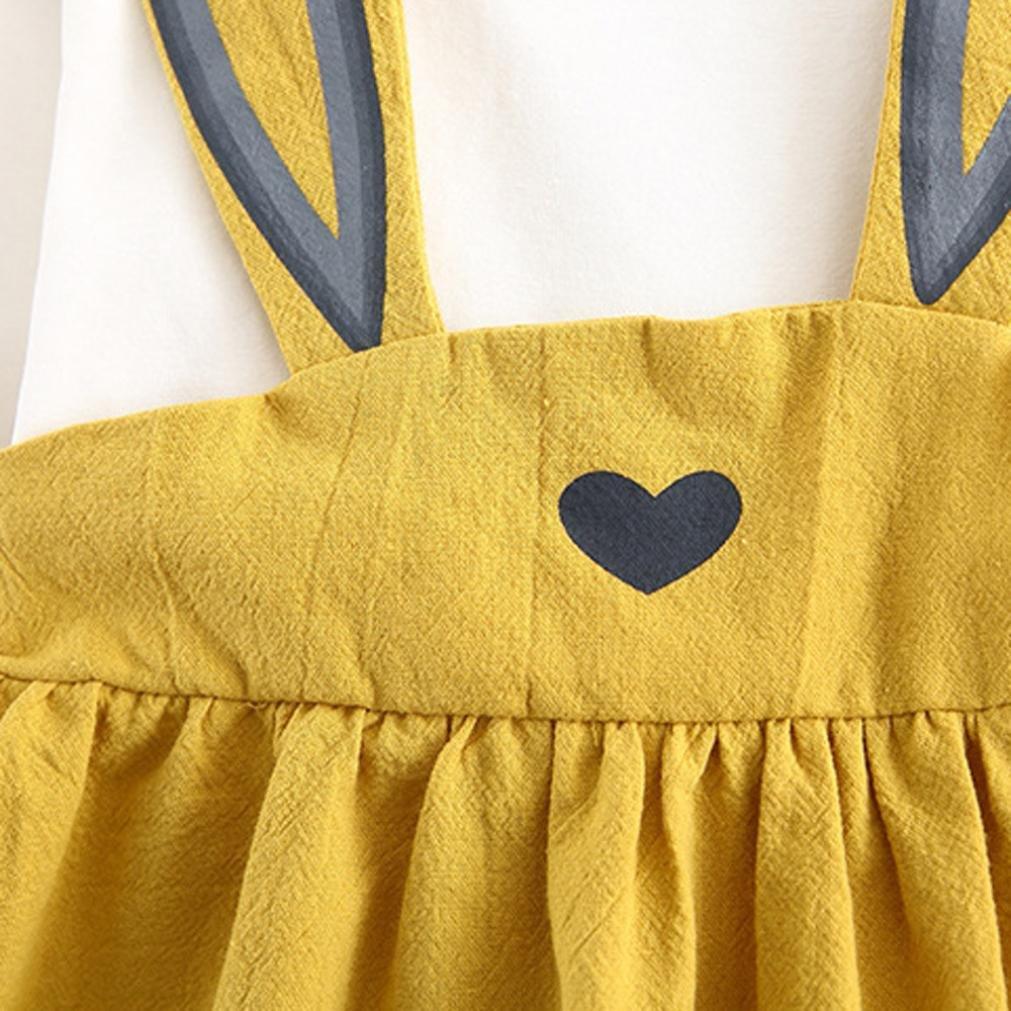 Siviki Baby Girls Cute Rabbit Bandage Mini Dress Kids Long Sleeve Tutu Dresses Outfit