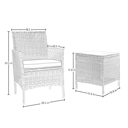 Flamaker 3 Pieces Patio Furniture Set Modern Outdoor Furniture Sets  Clearance Cushioned PE Wicker Bistro Set ...
