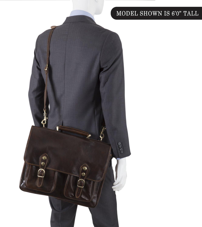Luggage Depot USA, LLC Men's Alberto Bellucci Italian Leather Express Satchel D. Brn Laptop Messenger Bag, Dark Brown, One Size by Luggage Depot USA, LLC (Image #6)