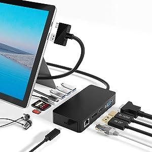 Surface Pro Dock para Surface Pro 4 / Pro 5 / Pro 6 USB Hub Docking Station con Puerto Gigabit Ethernet,4K HDMI VGA DP Display Port, 3xUSB 3.0 Ports, Audio out Port, USB C Port, SD/TF Card Reader