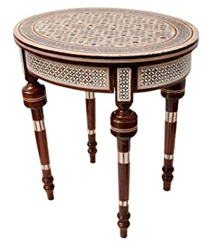 Handcrafted Egyptian Mother Of Pearl Inlay Wood Small Side Table For The Living Room Morrocan Style