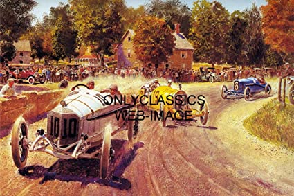 16e14287 Image Unavailable. Image not available for. Color: OnlyClassics Vintage Dirt  Track Race Early Years of AUTO Racing Art ...