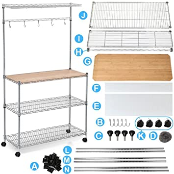 Yaheetech 4 Tier Rolling Chrome Bakeru0027s Rack Shelf Kitchen Cart Storage  Shelves Workstation On Wheels