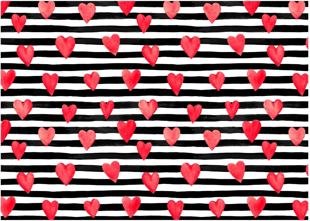 WOLADA 7x5ft Valentines Day Party Photo Backdrops Red Heart White Black Photography Backdrop Happy Lover Date Couple Wedding Anniversary Baby Decor Studio Props 11813