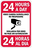 """SmartSign 3M High Intensity Grade Reflective Sign, Legend """"24 Hours a Day Video Camera Surveillance"""", Bilingual Sign with Graphic, 18"""" high x 12"""" wide, Black/Red on White"""