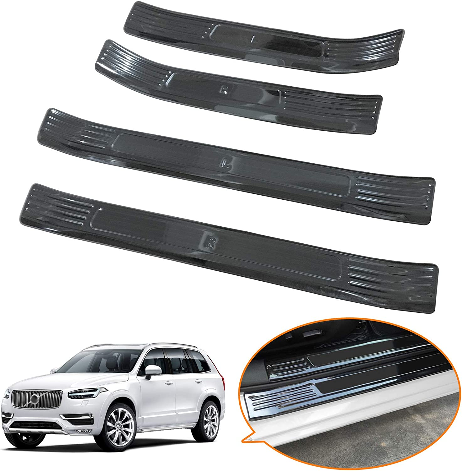 Toryea Outer 4PCS Door Entry Guards Sill Plate Black Titanium Fit Honda CR-V 2017 2018 2019