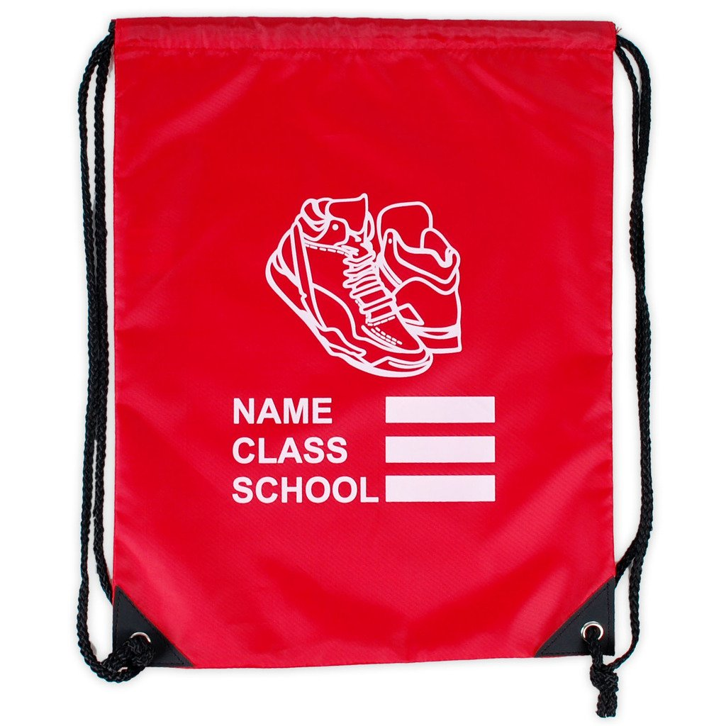 Girls Boys School Backpack Waterproof Drawstring PE Bag With Shoe Print Logo adam & eesa PE-bag
