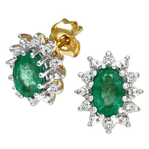 Naava Pendientes para Mujer de Oro Amarillo 9K con 14 Diamantes y Esmeraldas: Amazon.es: Joyería