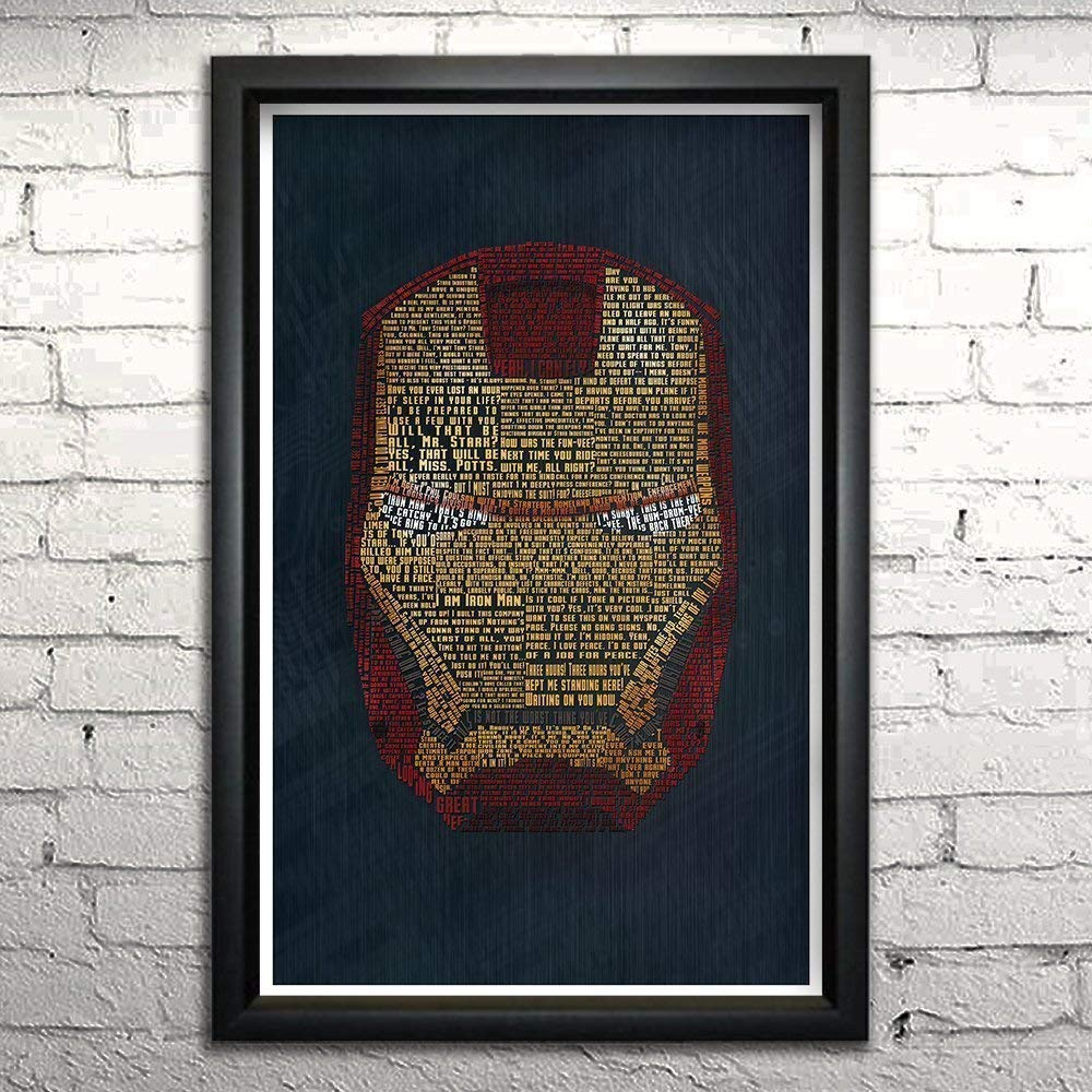 """Iron Man word art print -11x17"""" Framed