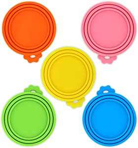 KTWD 5 Pack Can Covers for Pet Food Cans Soft Silicone Dog Cat Can Lids Universal Fit 3 Standard Size for Canned Food BPA Free Dishwasher Safe Easy to Clean Multicolor