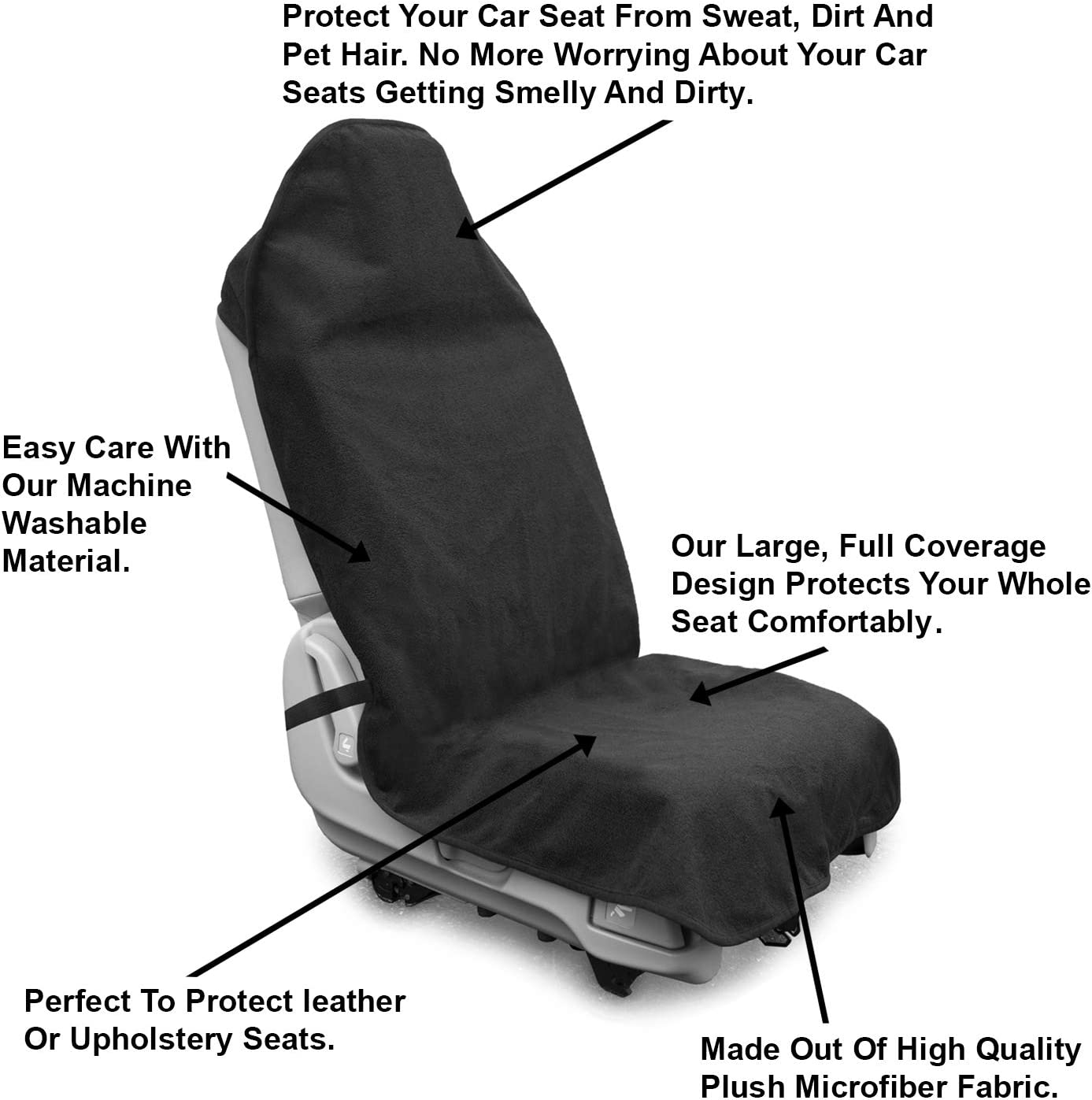 SUVs and Trucks Running Universal Fit Anti-Slip Bucket Seat Protector for Cars lebogner Waterproof Sweat Towel Car Seat Cover for Post Gym Workout Beach and Hiking Machine Washable Swimming