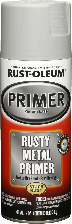 Rust-Oleum 249331 Automotive Rusty Metal Primer Spray Paint, 12 oz, Light Gray