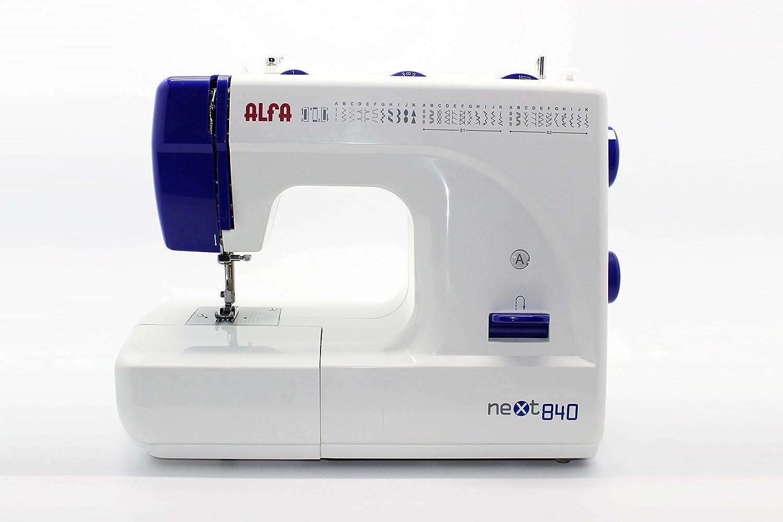 Alfa NEXT840 - Máquina de coser (Máquina de coser semiautomática, Azul, Blanco, Costura, Paso 4, 4 mm, palanca, Giratorio): Amazon.es: Hogar